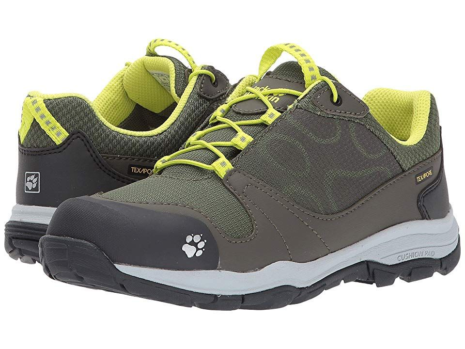 Jack Wolfskin Kids Akka Waterproof Low (Toddler/Little Kid/Big Kid) (Woodland Green) Boys Shoes. For the outdoor fan who can't wait to head out for his next adventure! Water-resistant  robust textile fabric and water-resistant synthetic nubuck leather upper. Taggle lace-up closure. Padded mesh collar and tongue for a good feel against foot. Pull tab on tongue for easy on-and-off wear. TEXAPORE technology is waterproof  windpro