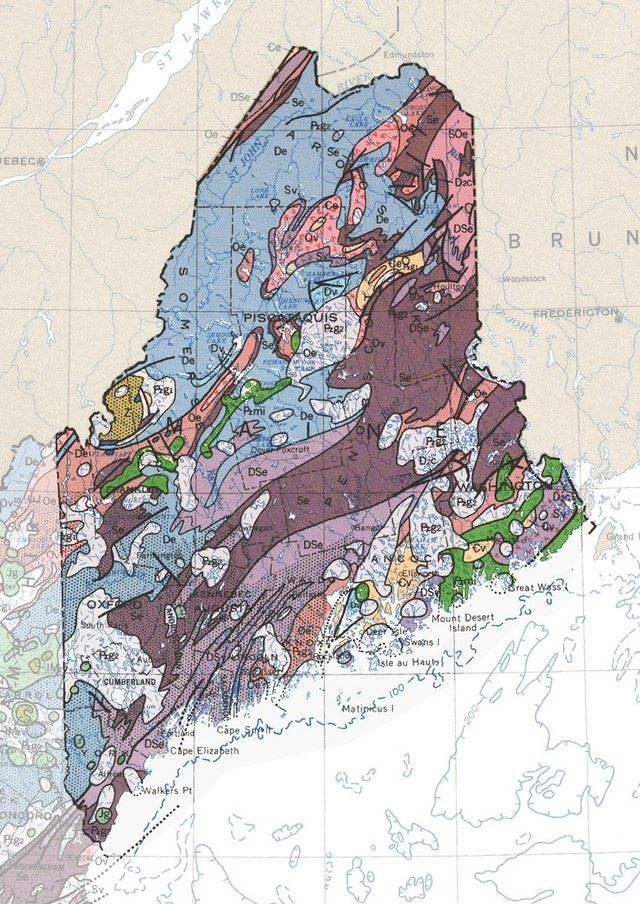 Geologic Map Of Maine.Geologic Maps Of The 50 United States Maine Geologic Map College
