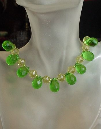 Green Faceted Tear Drop Czech Crystal and Yellow by camexinc