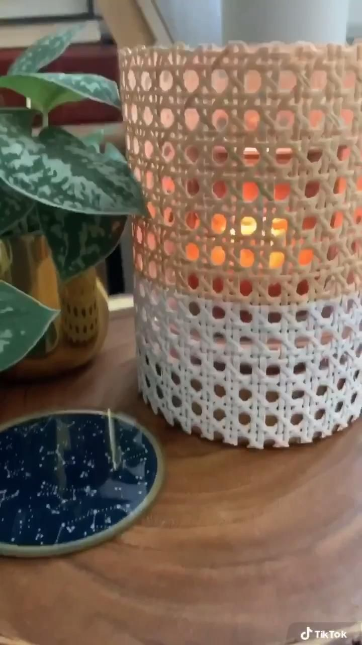 Photo of DIY Rattan Cane Webbing Wrapped Candle Vessel