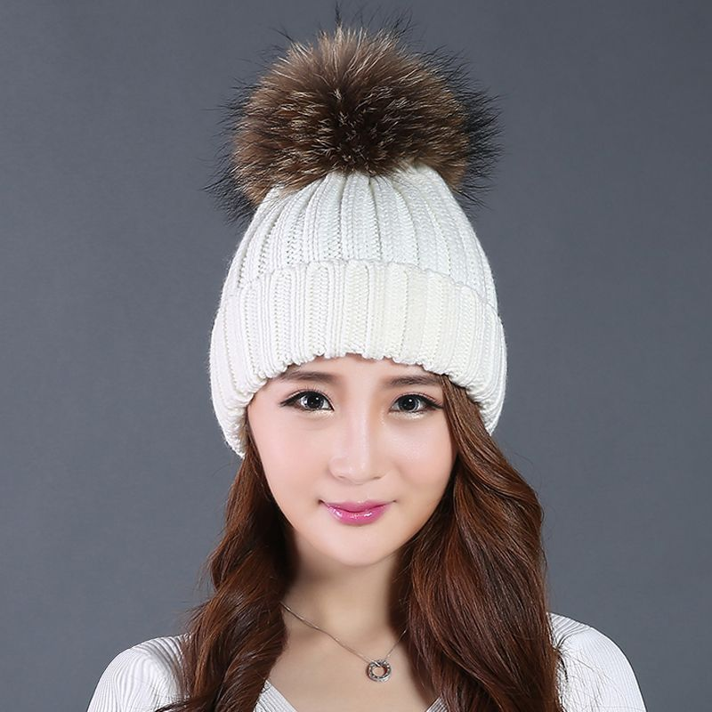0705c270a9d Beads Mink Fur Pom Poms Knitted Hat Ball Beanies Winter Hat For Women Girl  S Wool ...