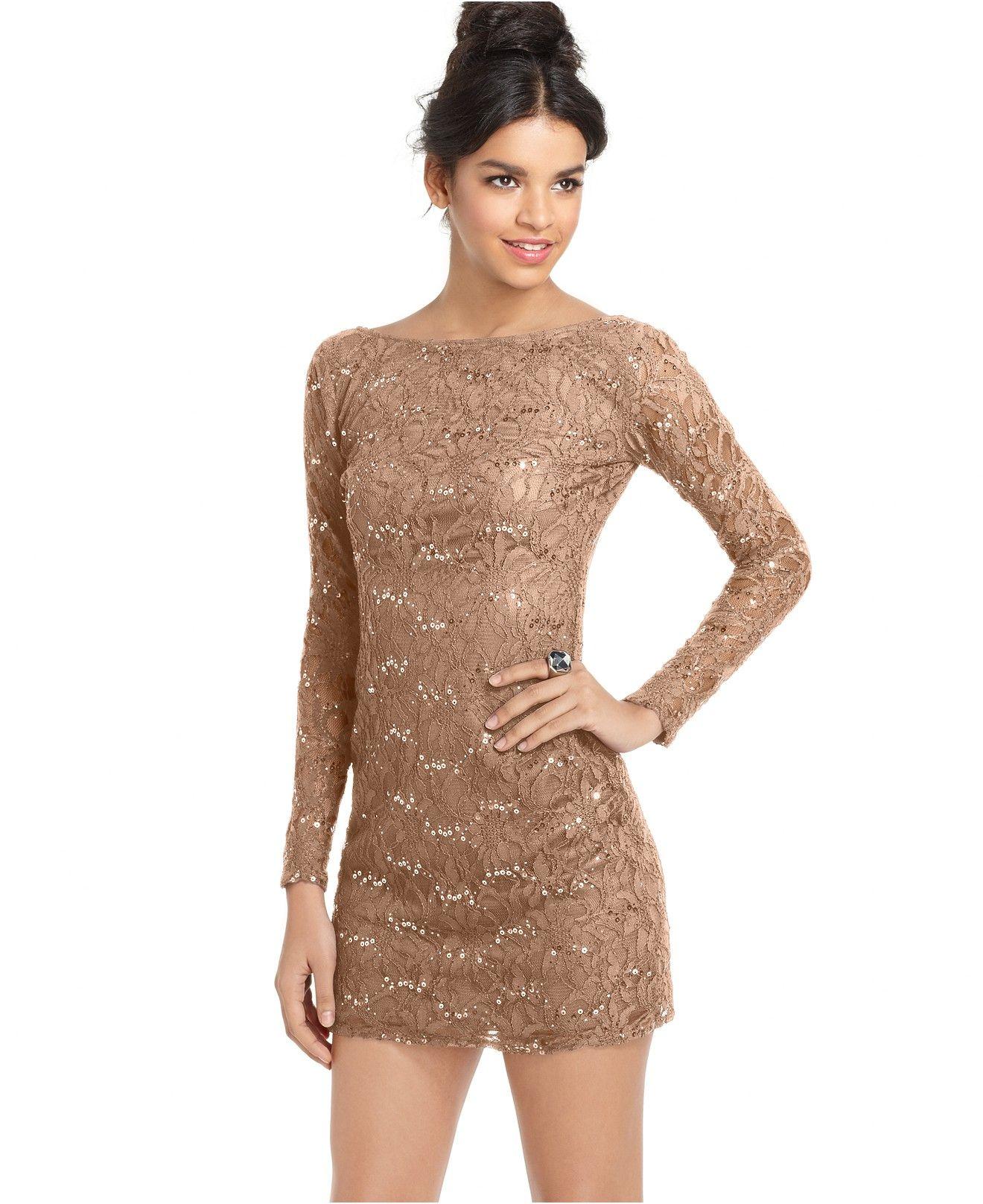 Jump Juniors\' Lace Sequin Mini Dress - Juniors Dresses - Macy\'s ...