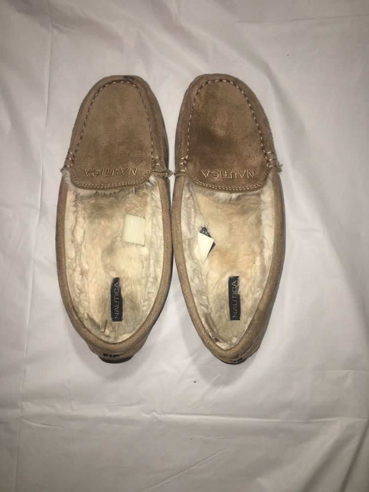 64222709376 NAUTICA WOMENS SLIPPERS MOCASSIN CLEARWATER-2 Almond Camel SOFT FAUX ...