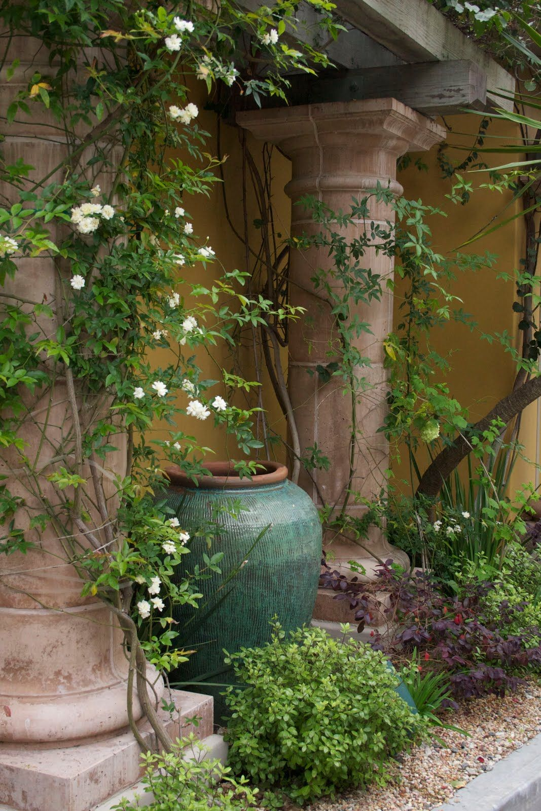 Pillars, climbing white roses and huge urns in the garden..