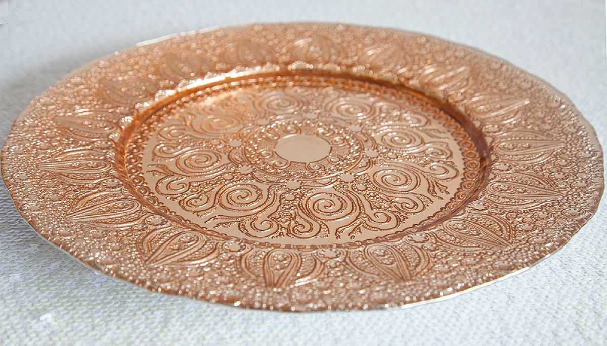 Buy Charger Plate Vintage Design -Rose Gold from Chair Cover Depot & Buy Charger Plate Vintage Design -Rose Gold from Chair Cover Depot ...