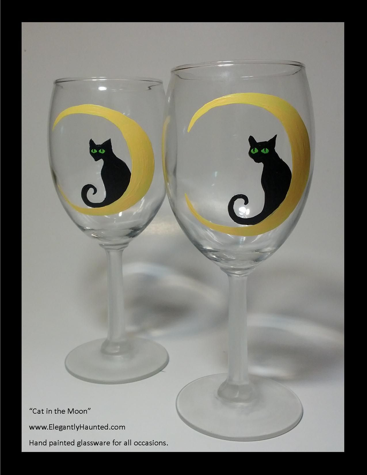 Cat in the moon Decorated wine