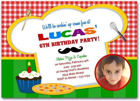 17 Best images about 4 Parties – Cooking Birthday Party Invitations