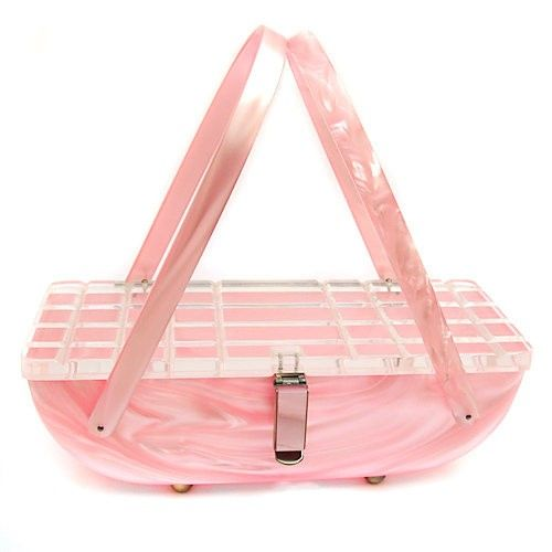 Pearlized Pink Lucite Purse - c. 1950