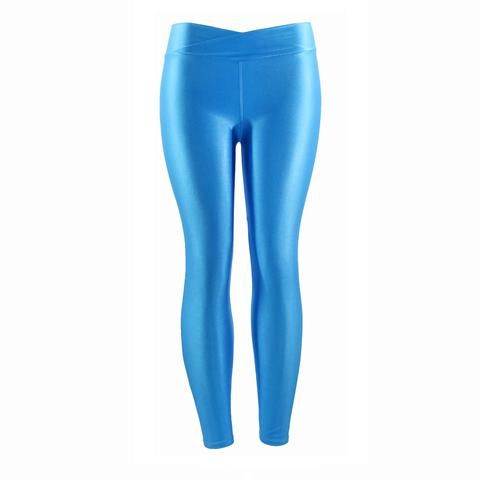 f8f3f6df6 Wulekue Fluorescent Color Women Workout Leggings V-Waist Multicolor Shiny  Glossy Trousers Plus Size Female Elastic Casual Pants