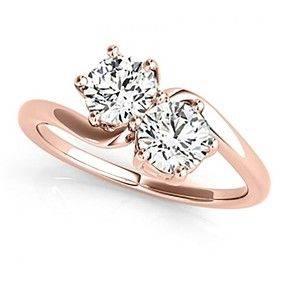 D/VVS1 Solitaire Us Two Stone Ring 14K Solid Rose Gold 1.00Ct by JewelryHub on Opensky