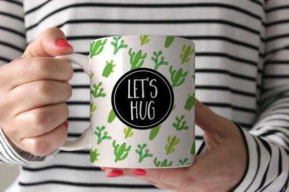 Cactus Mug Cacti Coffee Lets Hug Funny By SwankyPress