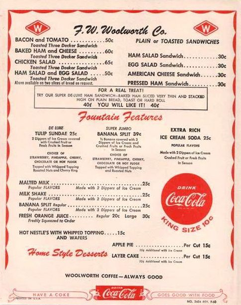 1950s menu from Woolworth's lunch counter | Bits of History