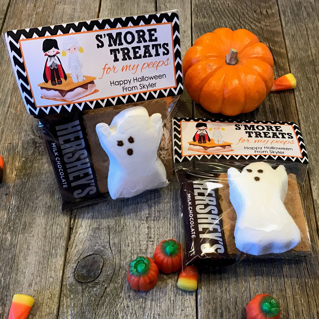 s'mores halloween party bags, camping halloween party favors