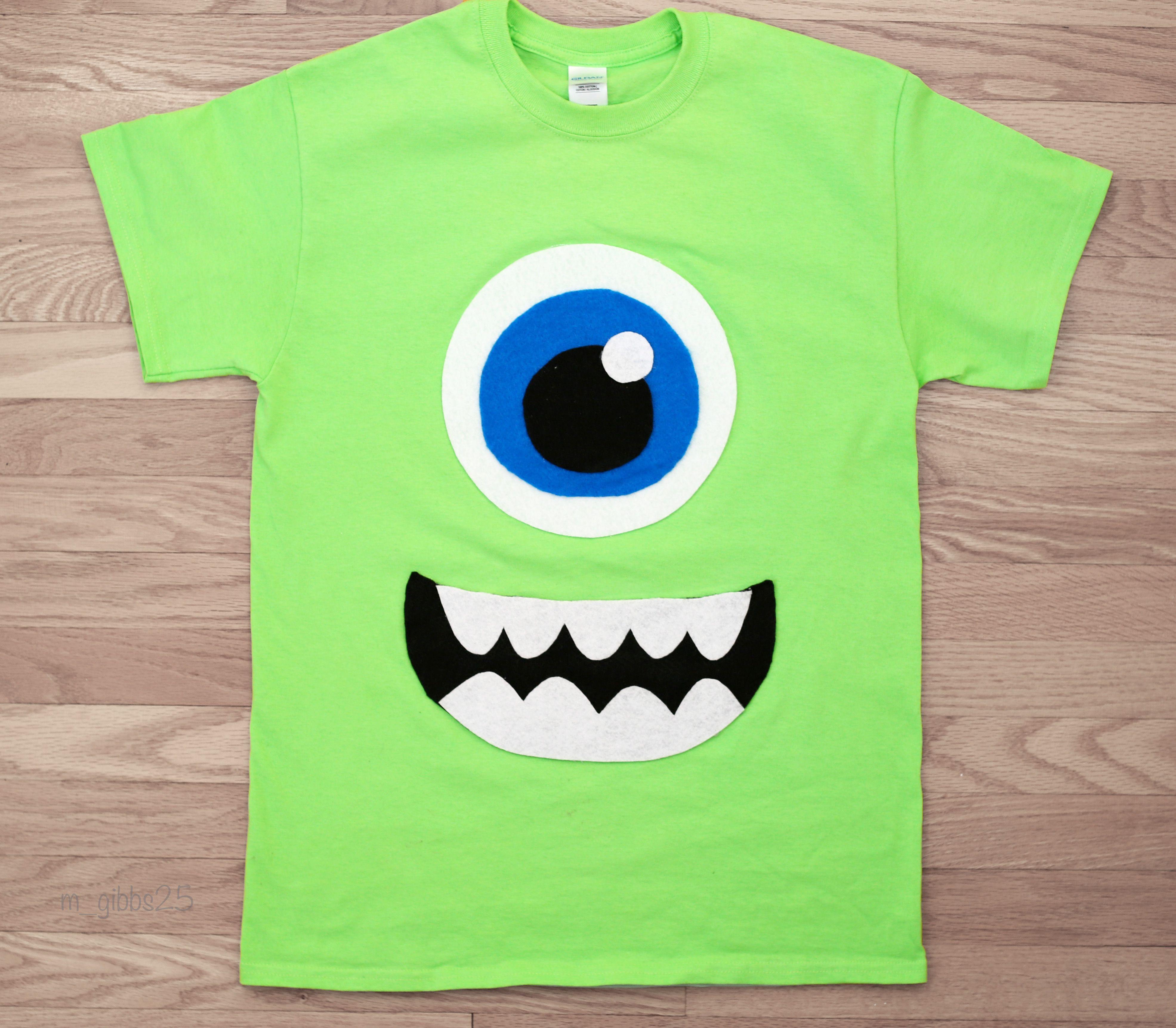Mike Wazowski Diy Tshirt Monsters Inc Easy Halloween Costume Felt Hot Glue Monster Inc Costumes Monster Shirts Monsters Inc Costume Diy