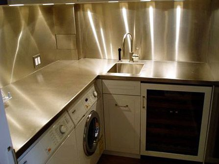 Laundry Room :: Stainless Steel Countertop With Integral Sink U0026 Full Splash.