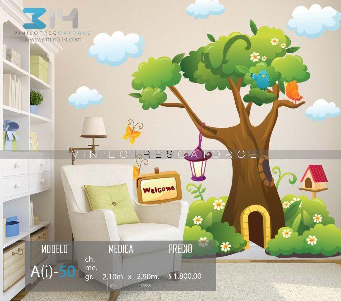 Vinilos decorativos rboles infantiles sticker decorativo for Decoracion de paredes infantiles