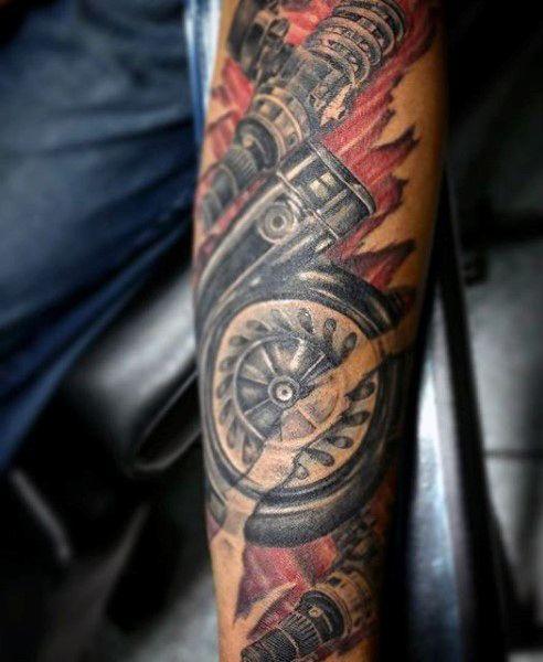 52f79bc28d3c6 70 Car Tattoos For Men - Cool Automotive Design Ideas | Art, Tattoos ...