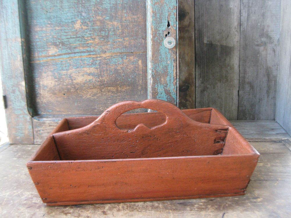 Primitive Early Antique Wood Knife Tray Bittersweet Milk Paint  #NaivePrimitive