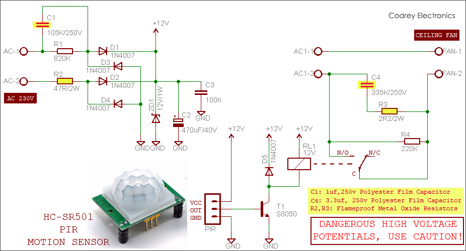 Automatic Fan Switch With Pir Motion Sensor Motion Sensor Sensor Electronics Circuit
