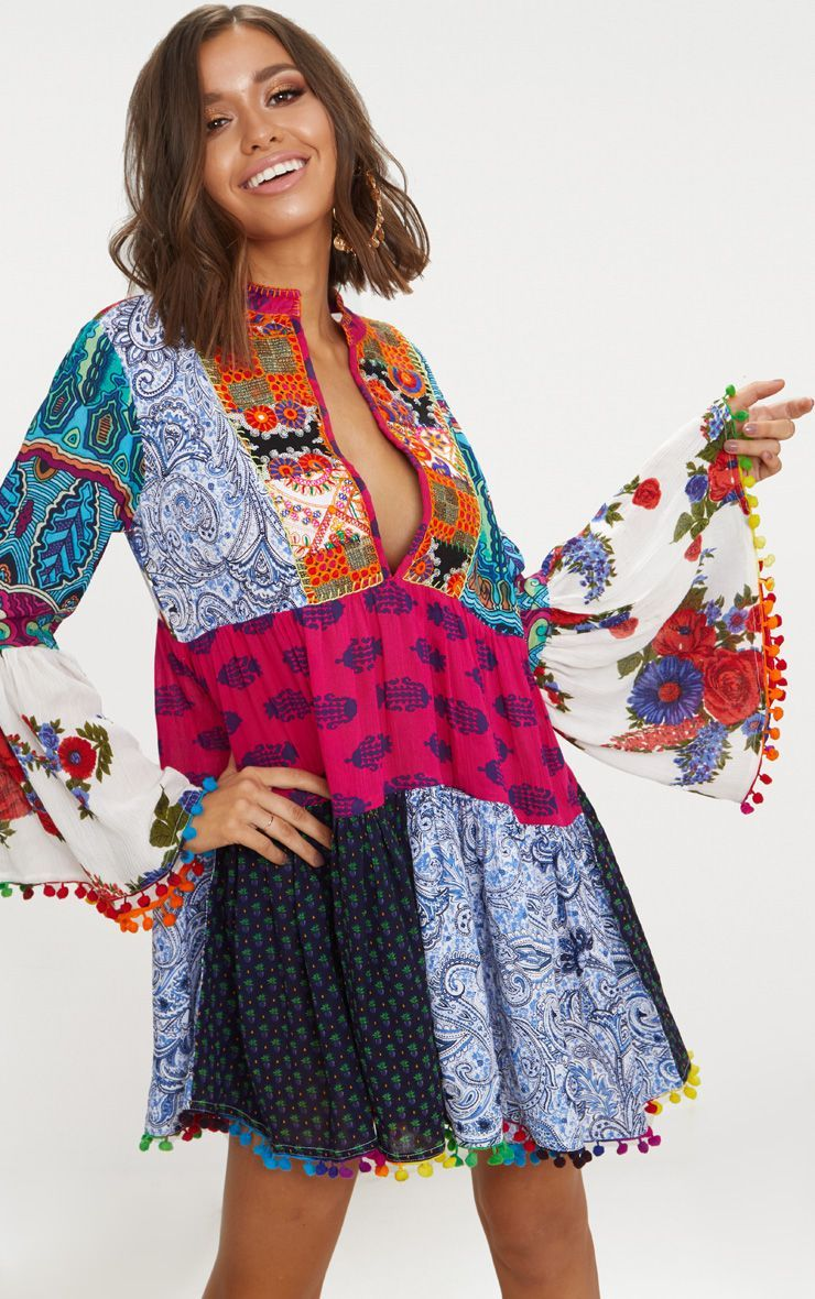 339c5c01e9b Multi Long Sleeve Plunge Mirror Embroidered Dress