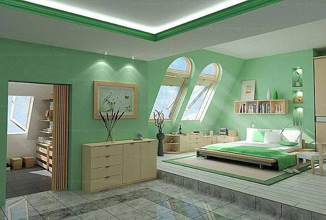 Green Modern Korea Style Bedroom Design Layout Sofa
