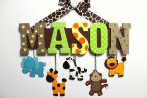 Baby Name Signs For Nursery Brown Green Yellow