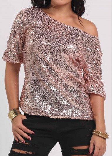 Pink Skew Neck Sequins Embellished T Shirt | Sequins, Decorating ...