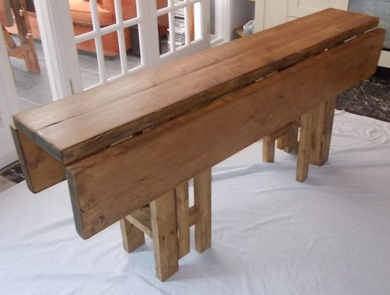 Rustic Space Saving Drop Leaf Breakfast Bar Kitchen Table 014
