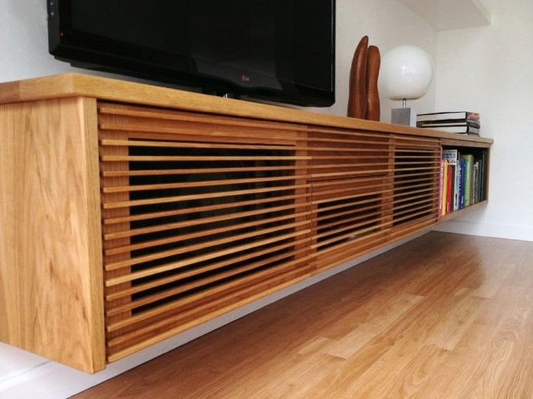Big And Natural Wood Floating Cabinet With Tv Unit On