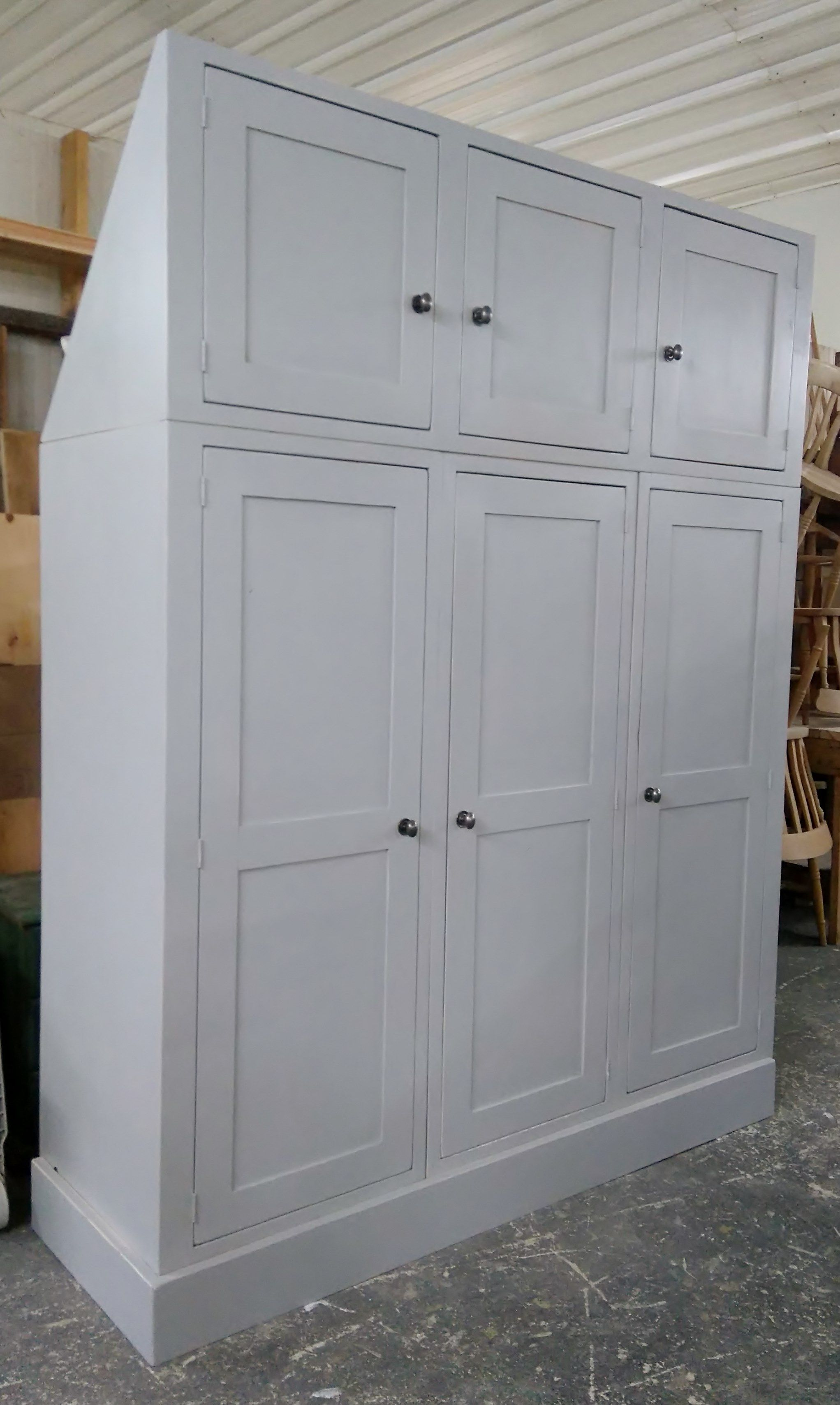 Cabinet maker bespoke pine furniture oak furniture bespoke - Bespoke Reclaimed Pine Triple Wardrobe With Top Cupboards For Bedroom Painted In Farrow Ball Triple Wardroberecycled Furniturefarrow