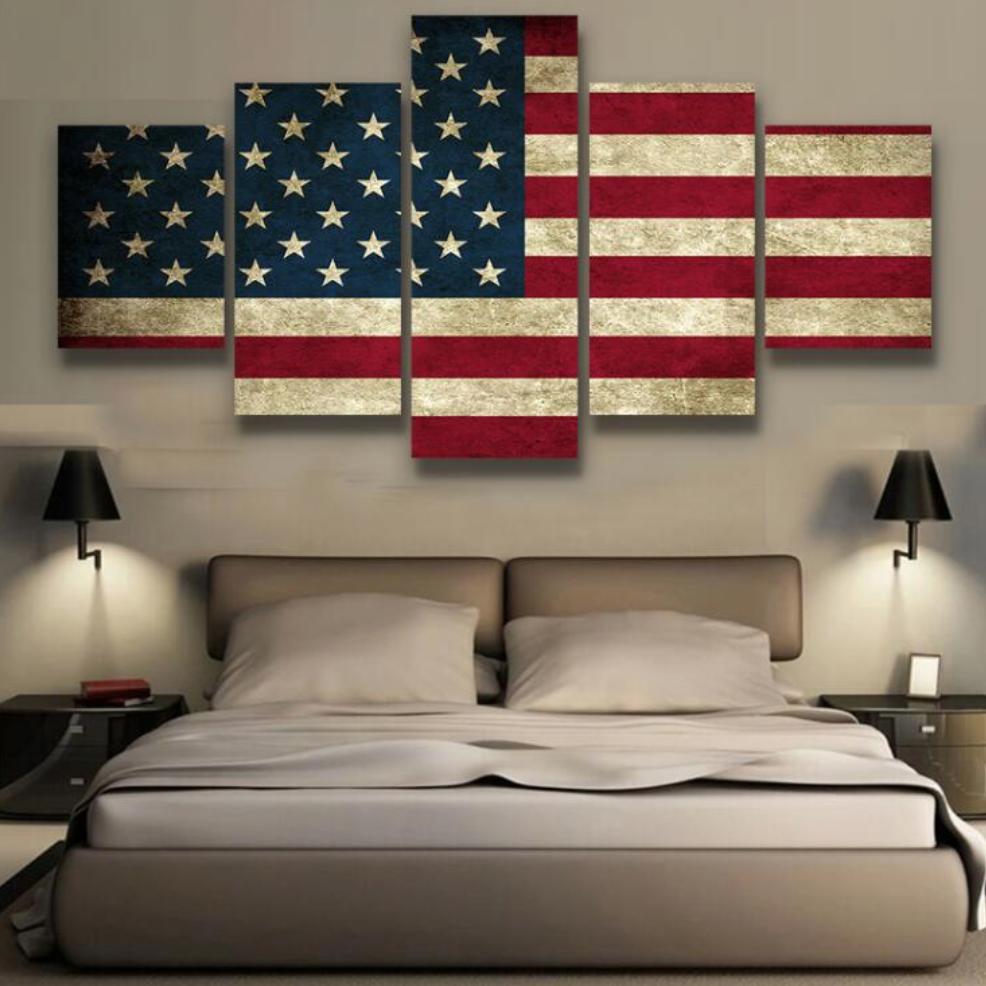 Rustic American Flag 5 Pieces Canvas Wallart Hd Quality American Flag Wall Art American Flag Art Metal Tree Wall Art
