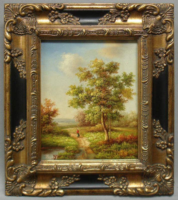 Framed country french Oil Painting of classic landscape in antique ...