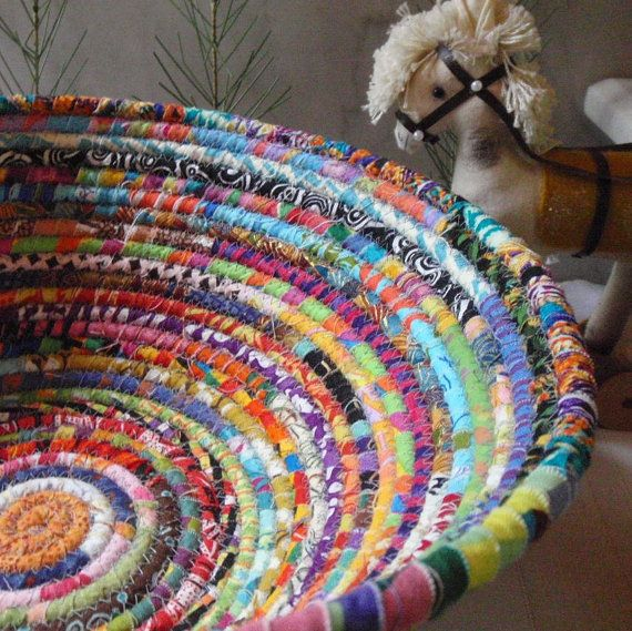Coiled Rag Rug Instructions: Coiled Basket Gypsy LARGE By YellowViolet On Etsy, $45.00
