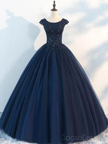 255906b6f82c Navy Cap Sleeves Ball Gown Tulle Cheap Long Evening Prom Dresses, Custom  Sweet16 Dresses, 18410