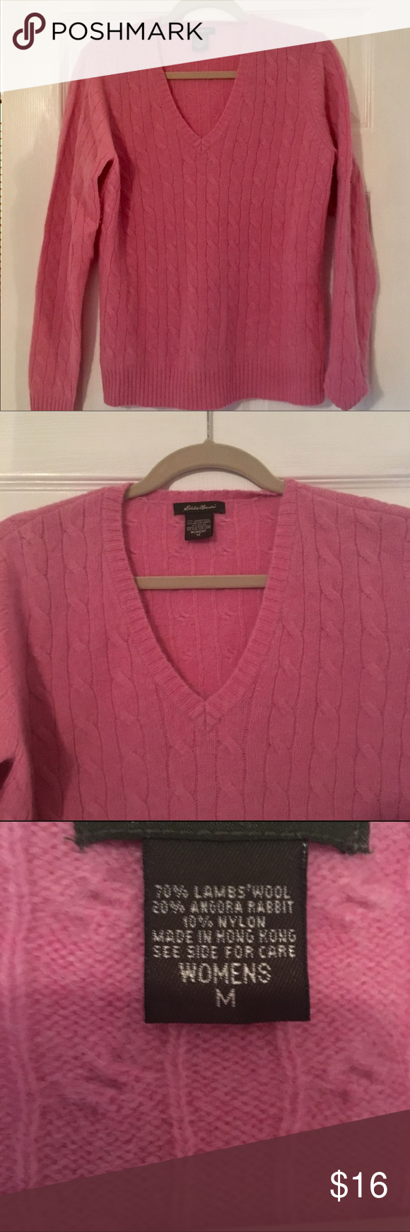 🌺Pepto pink v-neck sweater🌺 Pretty pink sweater with cable ...