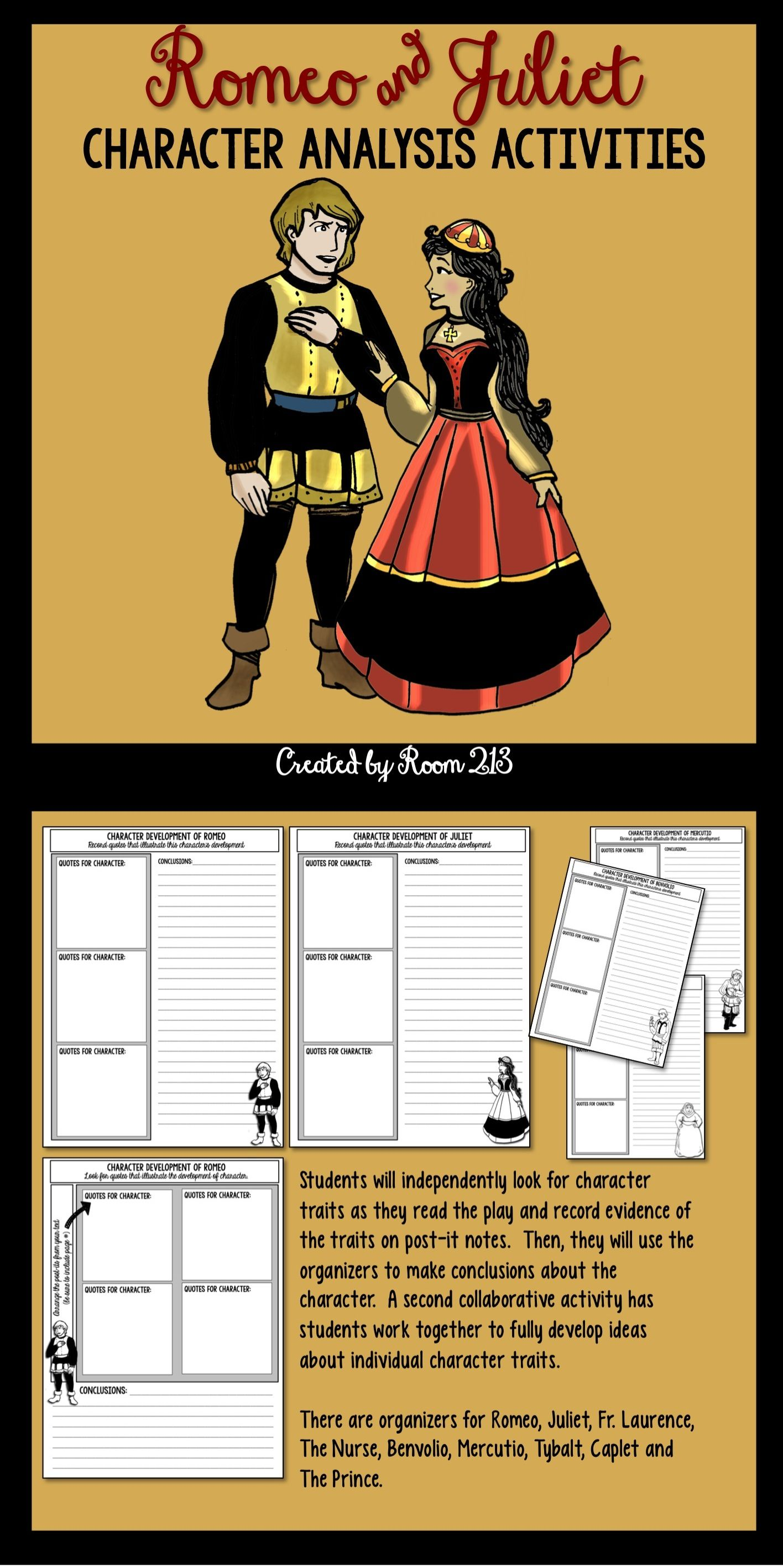 romeo and juliet character analysis activities student graphic romeo juliet graphic organizers to help your students analyze character