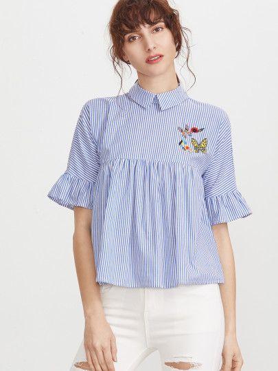 55c23c43e6c4e Pinstripe Pointed Collar Ruffle Sleeve Embroidered Babydoll Top -SheIn( Sheinside)