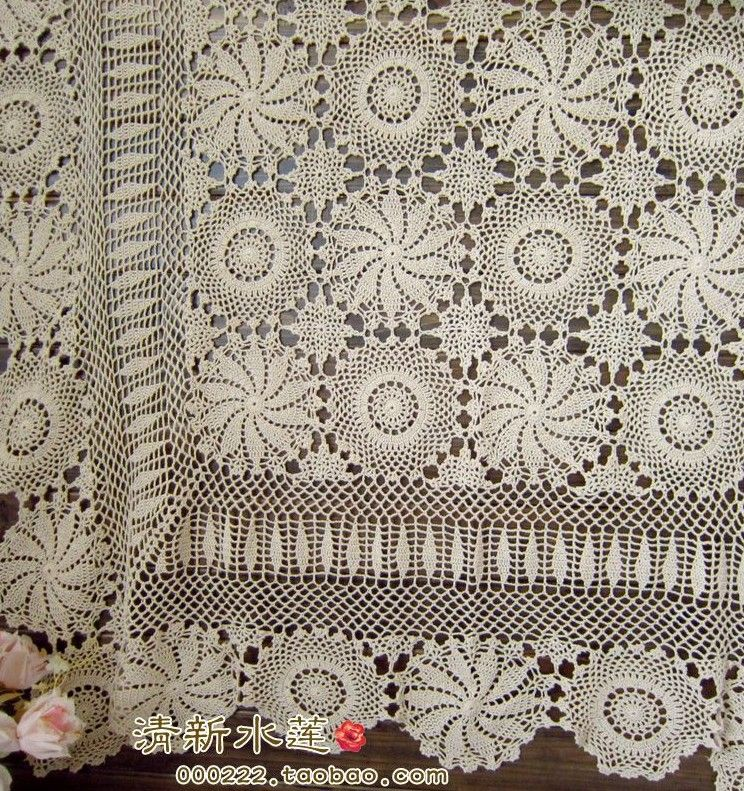 free-shipping-fashion-flowers-design-beige-crochet-hook-needle-crochet-cotton-lace-table-cover-bed-cover.jpg (744×791)