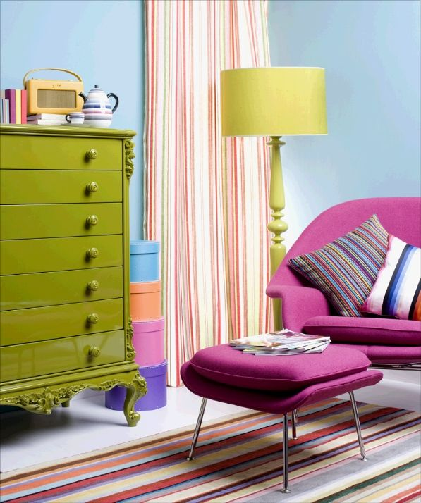 Interesting painted chest used in a living room filled with bright retro colors! Energizing! & Interesting painted chest used in a living room filled with bright ...