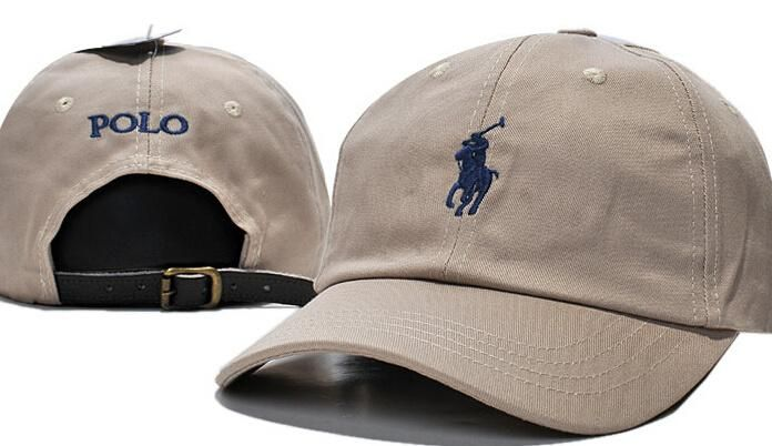 654950774f3 Men s   Women s Polo Ralph Lauren Small Pony Logo Leather Strap Back  Adjustable Baseball Hat - Sand   Navy