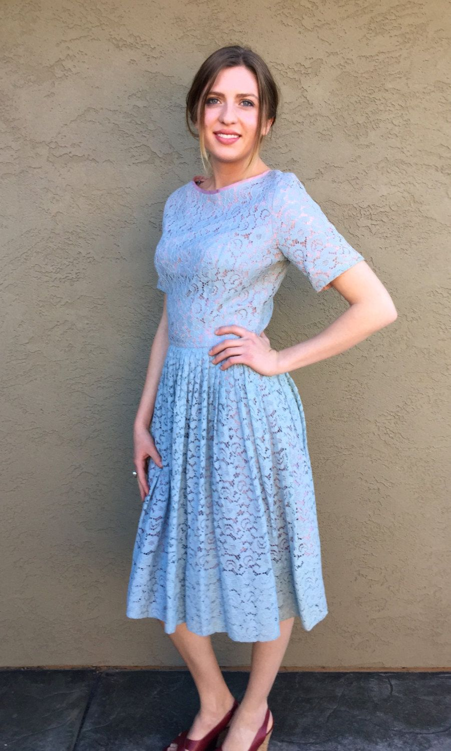4ac2ddaa6c Vintage 50s Blue Lace Dress Short Sleeve Dress XS-S Fabulous Baby ...