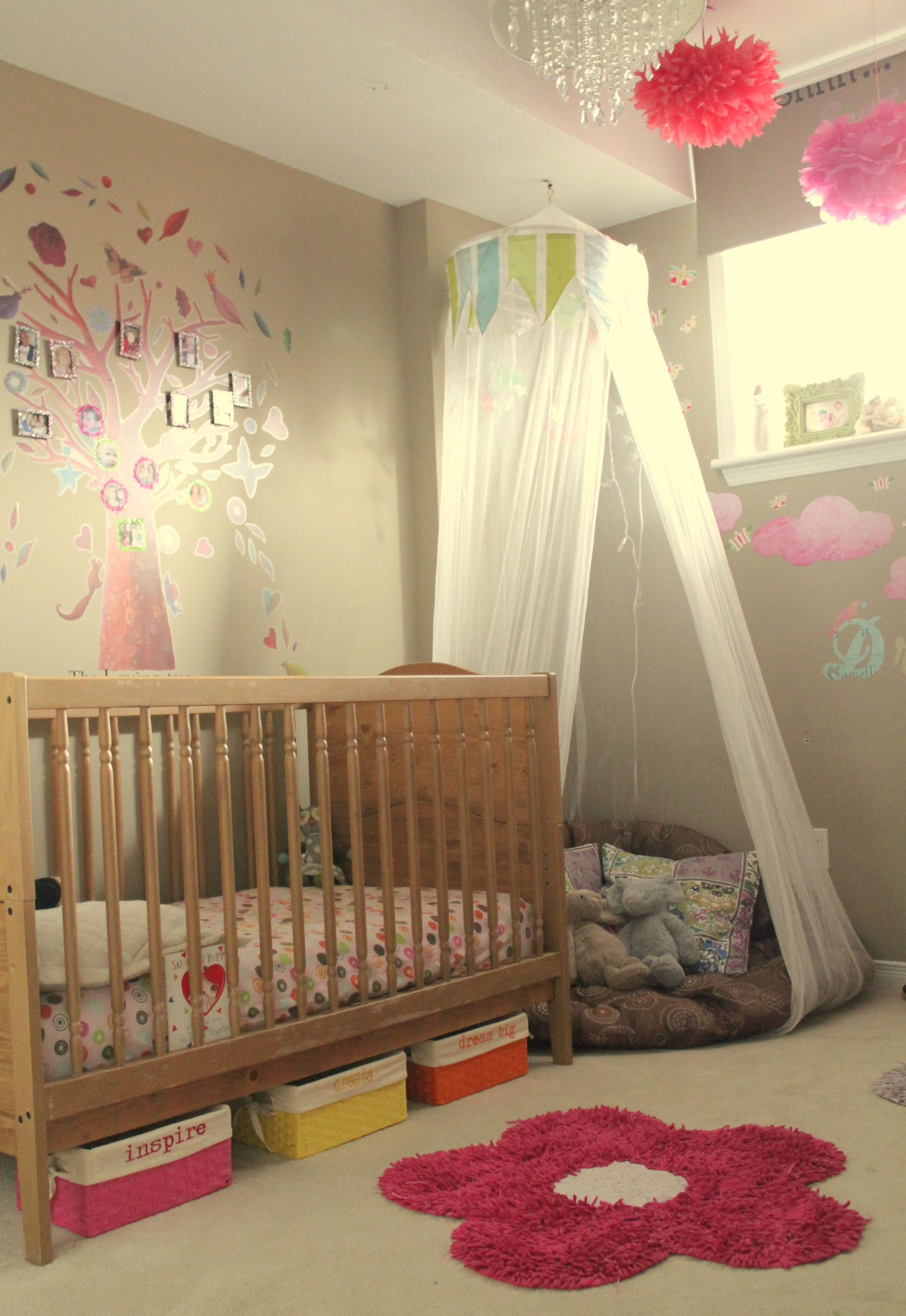 toddler girls room i like the corner cushion with netting im gonna
