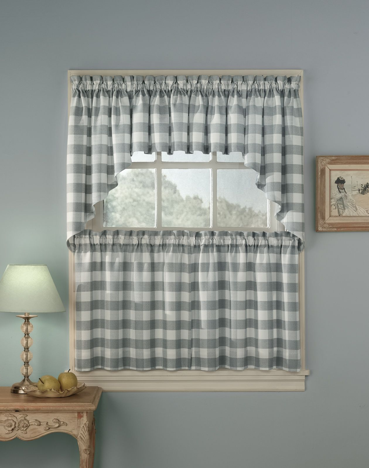 Blue And Yellow Plaid Kitchen Curtains