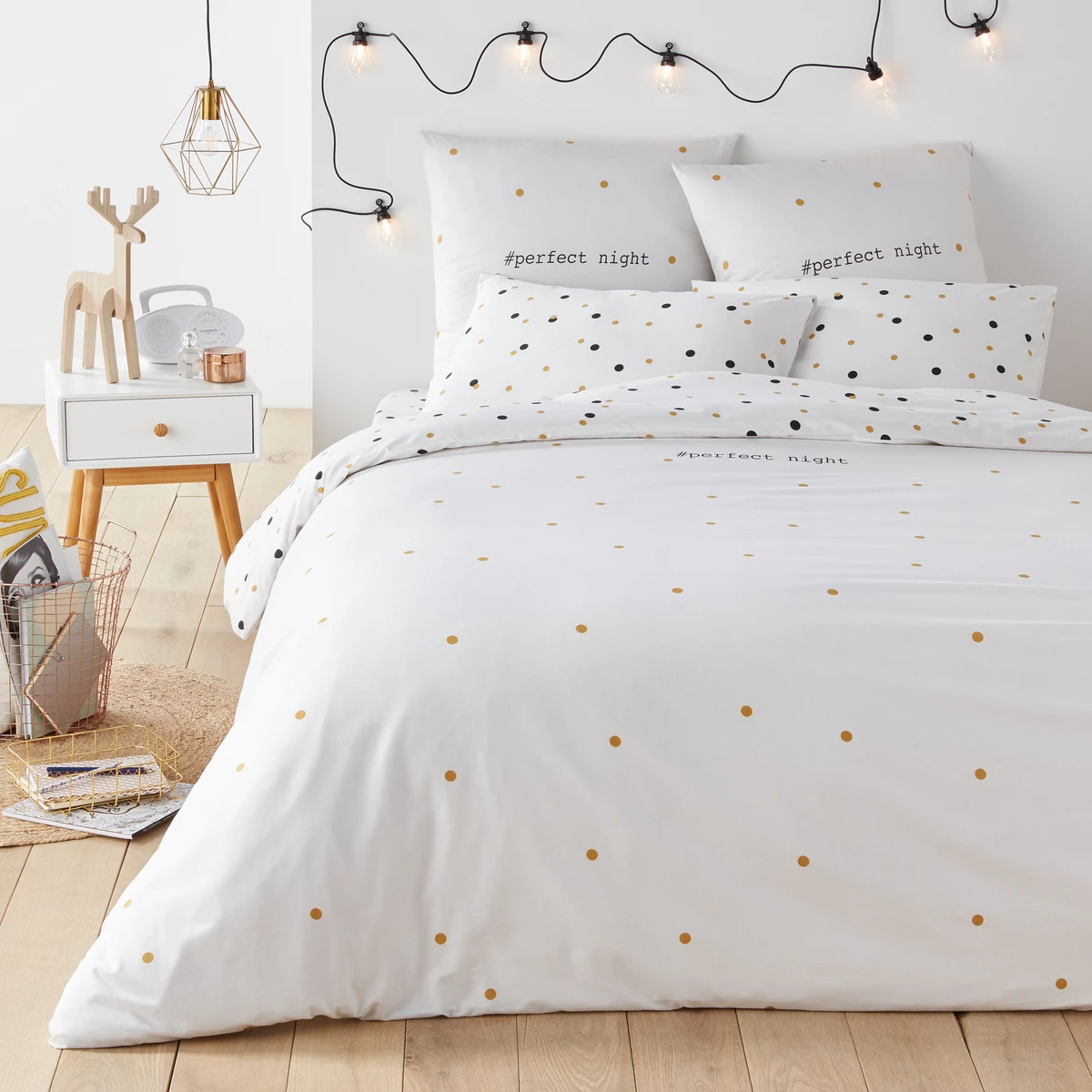 Perfect Night Printed Cotton Duvet Cover Duvet Covers Duvet Polka Dot Bedding