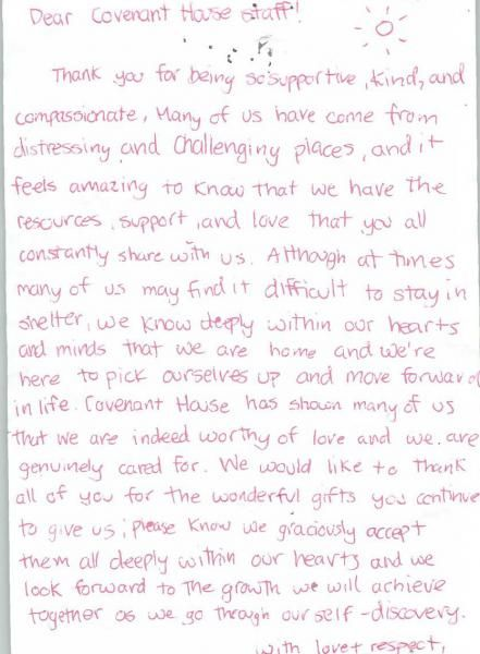 A Thank You Letter From A Youth  Words From Our Youth