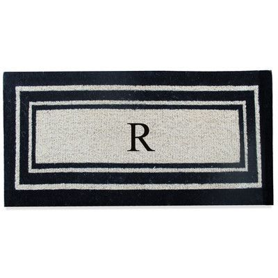 A1 Home Collections LLC First Impression Westwood Border Monogrammed Doormat Letter: R