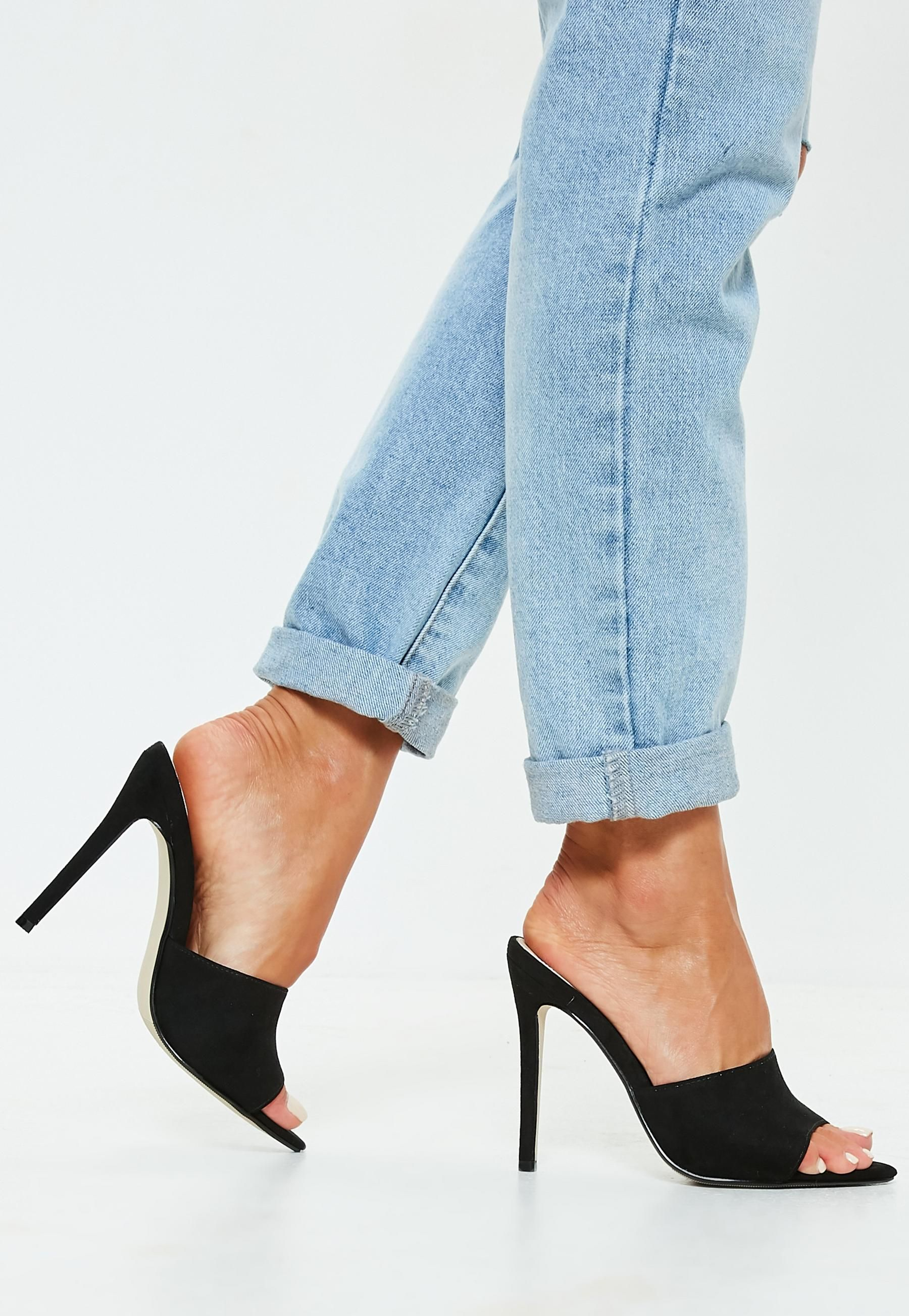 5273ece87c Missguided Black Faux Suede Peep Toe Mules in 2019 | Missguided ...