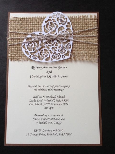 Handmade Rustic Vintage Shabby Chic Hessian Wedding Invitations Heart