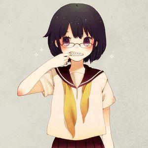 Safebooru Black Hair Braces Glasses Mizutamako Mouth Pull Original School Uniform Serafuku Short Hair Sparkle Violet Eyes Anime School Girl Manga Girl Anime