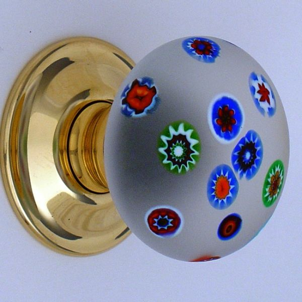 Millefiori, meaning a thousand flowers doorknob. Made using glass ...